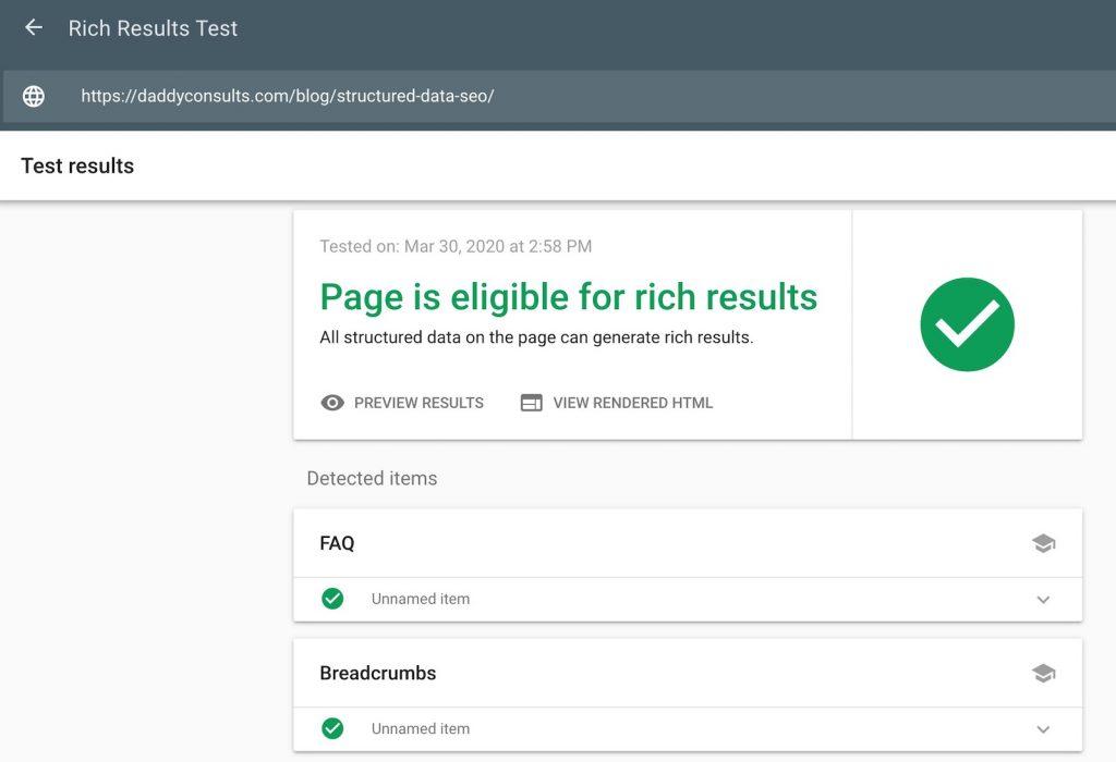 Shematische Daten Rich Result Test Tool
