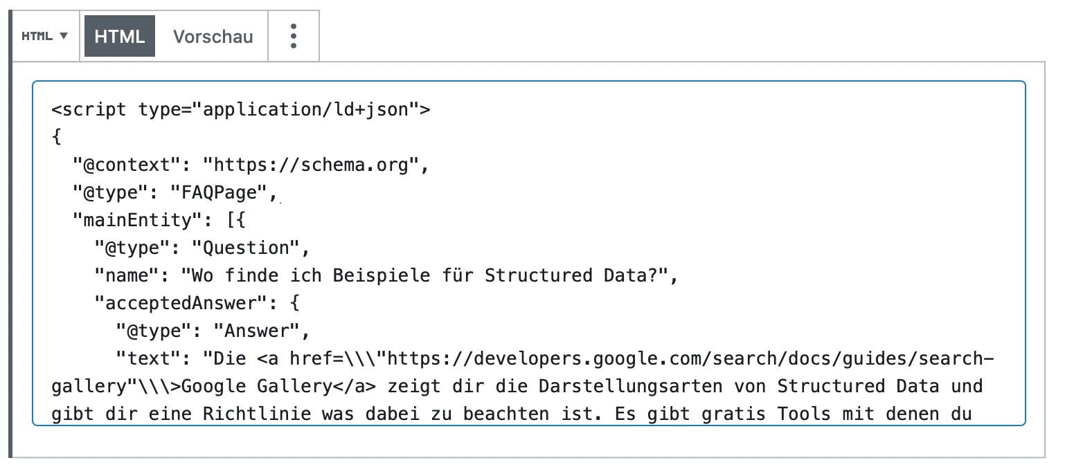 Schema Code als HTML in die Webseite einfügen