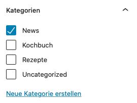 wordpress beitrag kategorie zuweisen