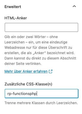 wordpress code block klasse zuweisen