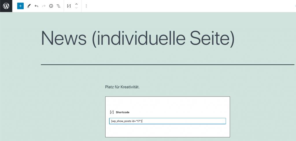 wordpress neue seite erstellen und shortcode einfügen