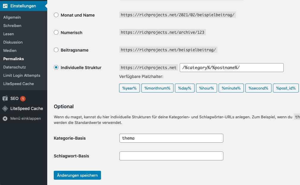 wordpress permalinks konfigurieren