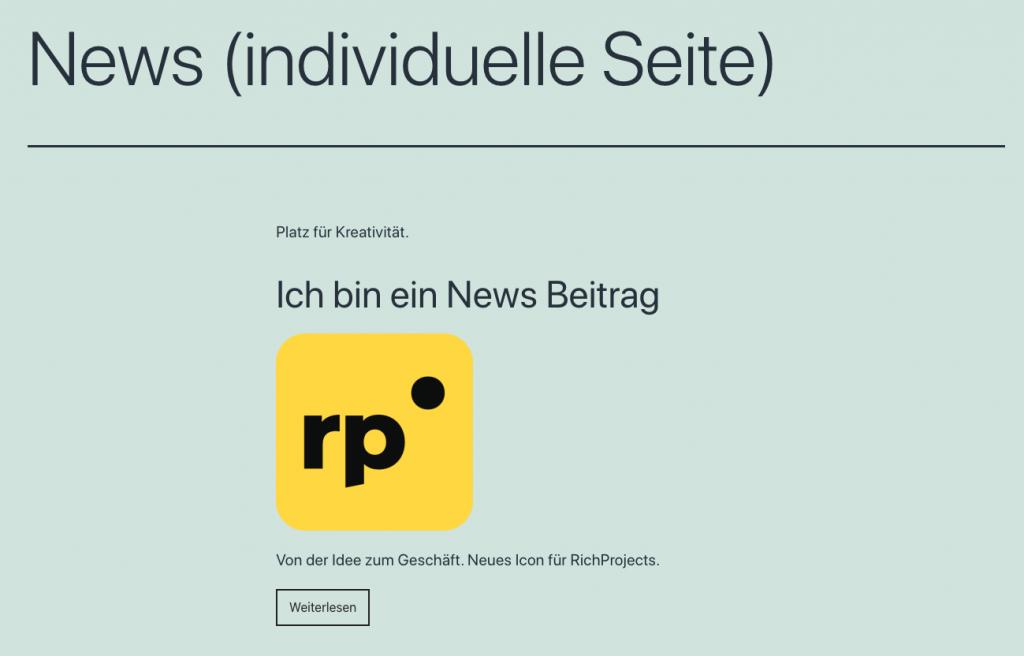 wordpress seite mit news post